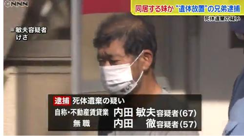 妹の遺体遺棄した内田敏夫・徹容疑者の横浜市の団地はどこ?理由は?
